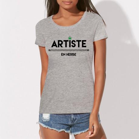 0f039f4fdbd ... femme Artiste en herbe. Tee shirt cannabis