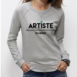 """SWEAT femme cannabis - """"Artiste en Herbe"""""""